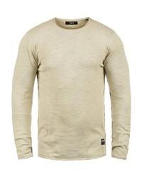 hellbeige Pullover mit einem Rundhalsausschnitt von Solid