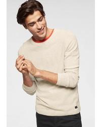 hellbeige Pullover mit einem Rundhalsausschnitt von Tom Tailor Denim