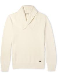 hellbeige Pullover mit einem Schalkragen von Burberry