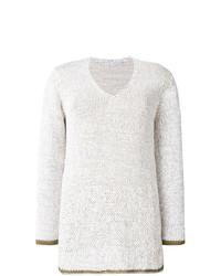 hellbeige Pullover mit einem V-Ausschnitt von Fabiana Filippi
