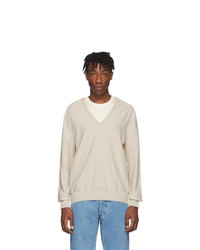 hellbeige Pullover mit einem V-Ausschnitt von Maison Margiela