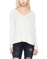hellbeige Pullover mit einem V-Ausschnitt von Only