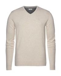 hellbeige Pullover mit einem V-Ausschnitt von Tom Tailor