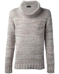 hellbeige Pullover mit einer weiten Rollkragen von Daniele Fiesoli