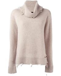hellbeige Pullover mit einer weiten Rollkragen von RtA