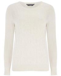 hellbeige Pullover mit einem Rundhalsausschnitt