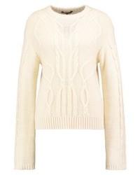 hellbeige Pullover mit einem Rundhalsausschnitt von mbyM