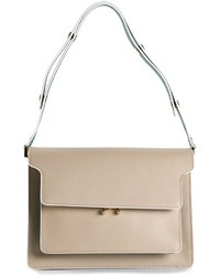 hellbeige Satchel-Tasche aus Leder von Marni