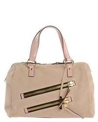 hellbeige Satchel-Tasche aus Wildleder
