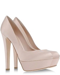 hellbeige Satin Pumps