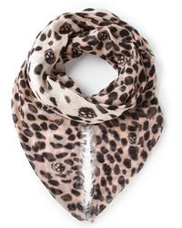 hellbeige Schal mit Leopardenmuster