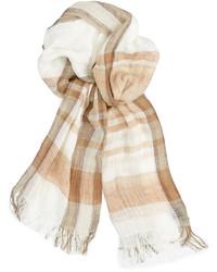 hellbeige Schal mit Schottenmuster