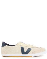 hellbeige Segeltuch niedrige Sneakers