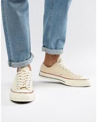 hellbeige Segeltuch niedrige Sneakers von Converse