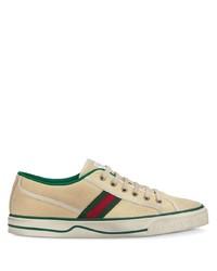 hellbeige Segeltuch niedrige Sneakers von Gucci