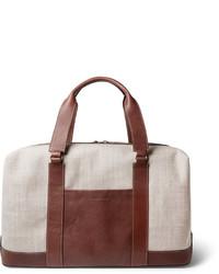 hellbeige Segeltuch Reisetasche von Brunello Cucinelli