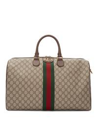 hellbeige Segeltuch Sporttasche von Gucci