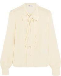 hellbeige Seide Bluse mit Rüschen von RED Valentino