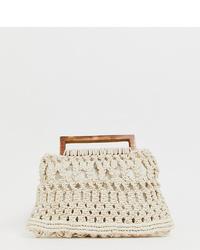 hellbeige Shopper Tasche aus Häkel von Glamorous