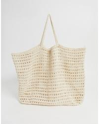 hellbeige Shopper Tasche aus Häkel von Mango