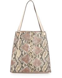 hellbeige Shopper Tasche aus Leder mit Schlangenmuster