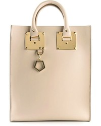 hellbeige Shopper Tasche aus Leder