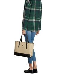 hellbeige Shopper Tasche aus Leder von Tommy Hilfiger