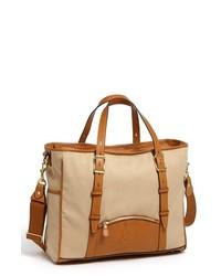 hellbeige Shopper Tasche aus Segeltuch