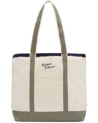 hellbeige Shopper Tasche aus Segeltuch von MAISON KITSUNÉ