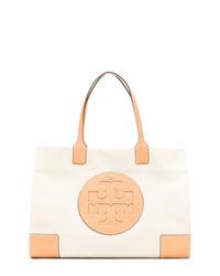 hellbeige Shopper Tasche aus Segeltuch von Tory Burch