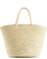 hellbeige Shopper Tasche aus Stroh