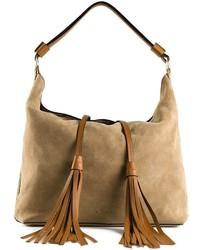 hellbeige Shopper Tasche aus Wildleder