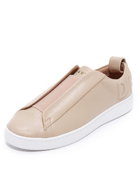 hellbeige Slip-On Sneakers aus Leder