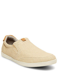 hellbeige Slip-On Sneakers aus Segeltuch