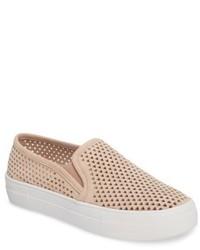 hellbeige Slip-On Sneakers aus Wildleder