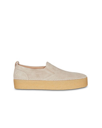 hellbeige Slip-On Sneakers aus Wildleder von Burberry