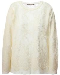 hellbeige Spitze Pullover mit einem Rundhalsausschnitt