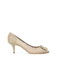 hellbeige Spitze Pumps von Dolce & Gabbana