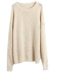 hellbeige Strick Oversize Pullover