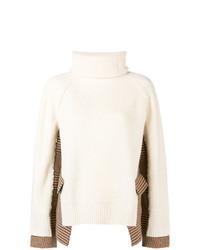hellbeige Strick Oversize Pullover von Sacai