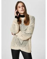 hellbeige Strick Oversize Pullover von Selected Femme