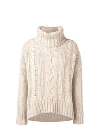 hellbeige Strick Oversize Pullover von Woolrich
