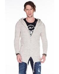hellbeige Strick Pullover mit einem Kapuze von Cipo & Baxx
