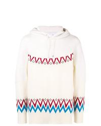 hellbeige Strick Pullover mit einem Kapuze von Sacai