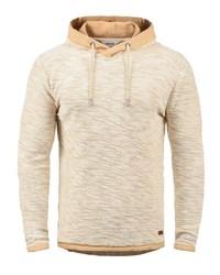 hellbeige Strick Pullover mit einem Kapuze von Solid