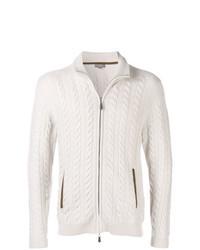 hellbeige Strick Pullover mit einem Reißverschluß