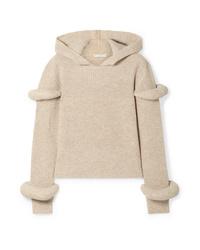 hellbeige Strick Pullover mit einer Kapuze