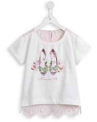 hellbeige T-shirt mit Blumenmuster von MonnaLisa