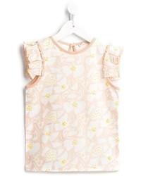 hellbeige T-shirt mit Blumenmuster von Stella McCartney