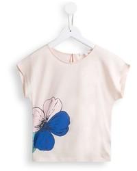 hellbeige T-shirt mit Blumenmuster